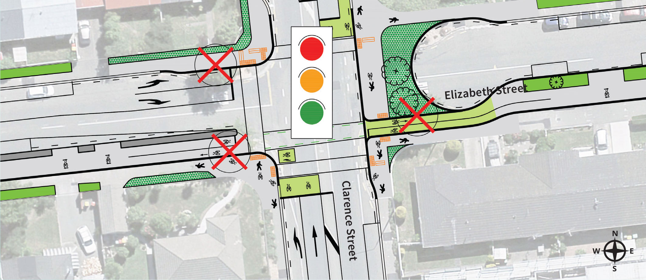 'Elizabeth St cul-de-sac at and new signalised intersection