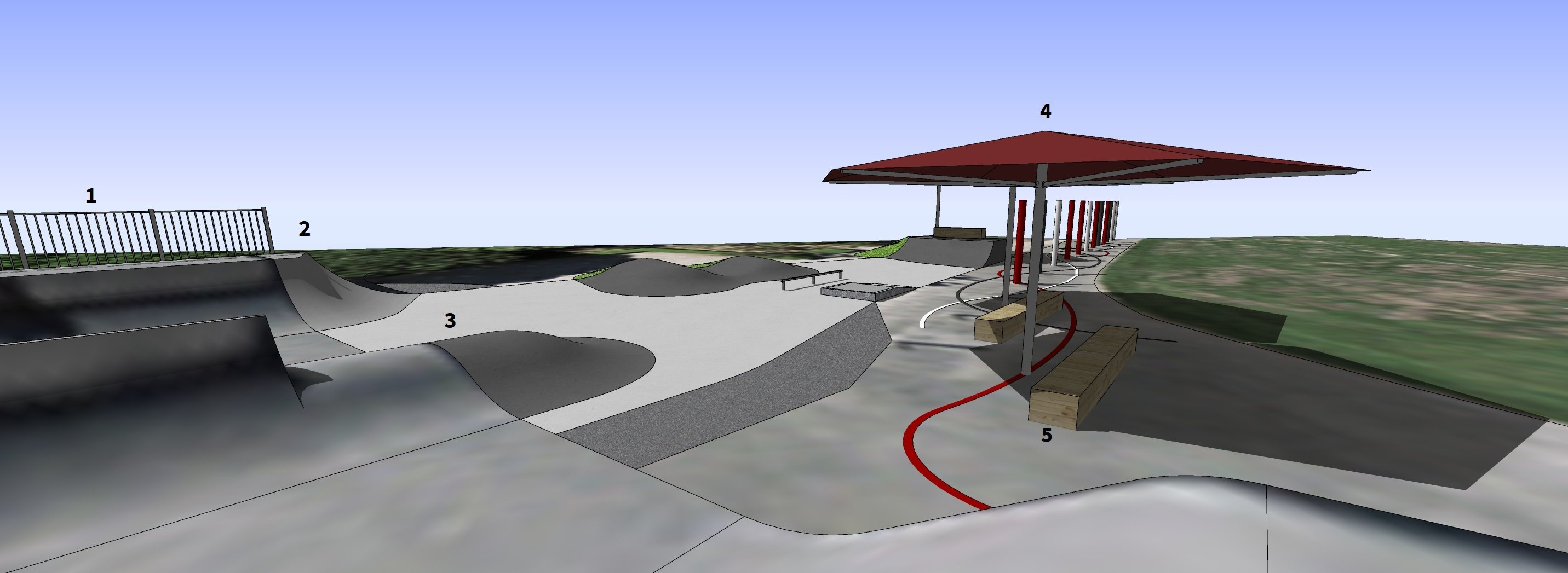 3D view of the proposed extension for St Albans skate park