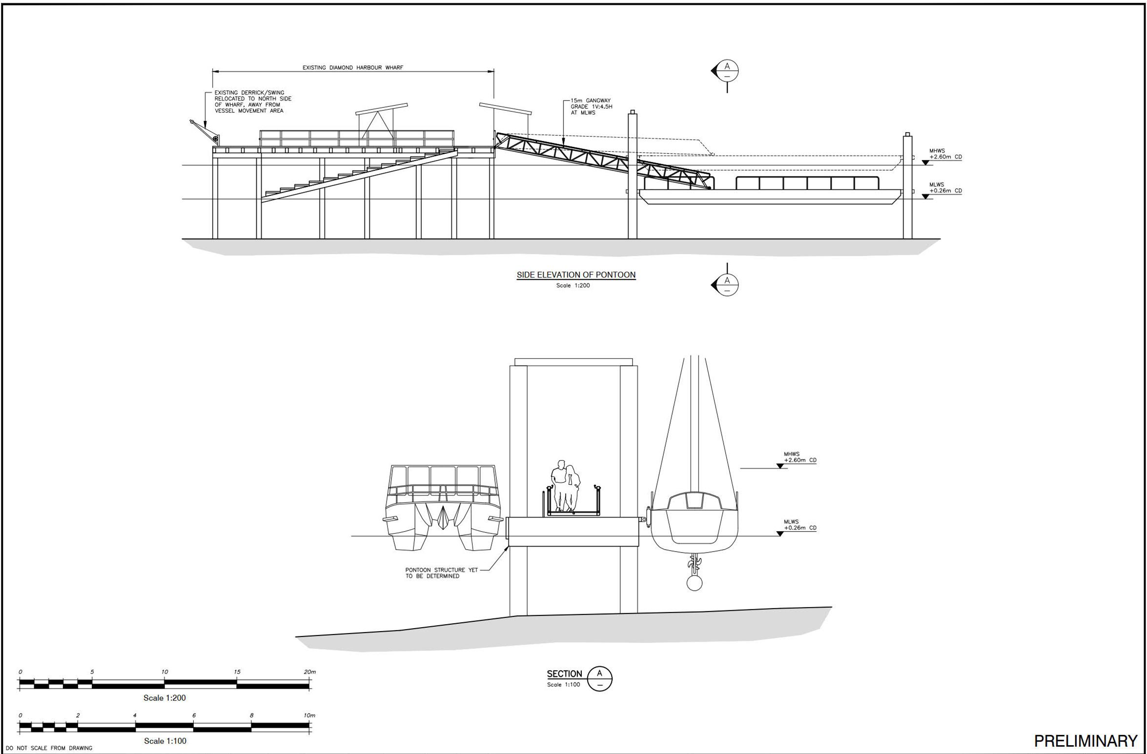 Diamond Harbour Wharf cross section of the new pontoon