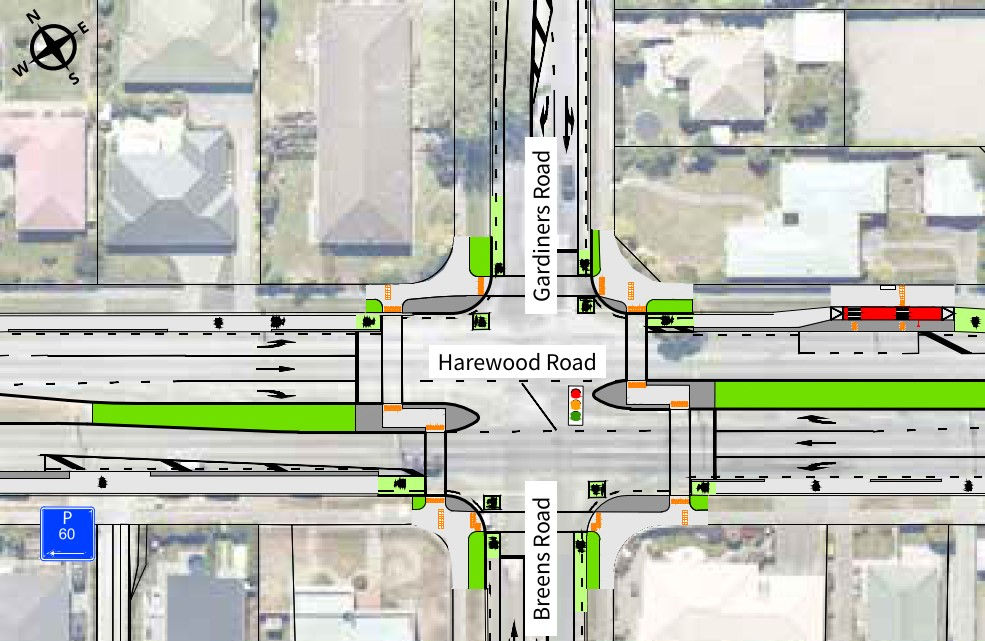 Harewood, Gardiners, Breens Road intersection changes