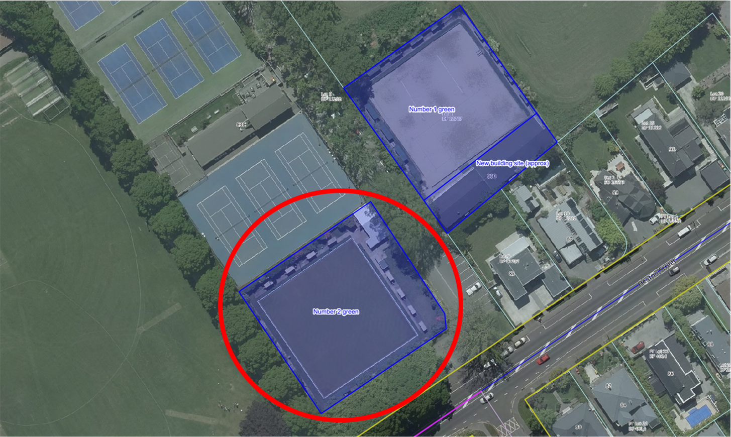 Lease area for the Number 2 Green (circled in red)