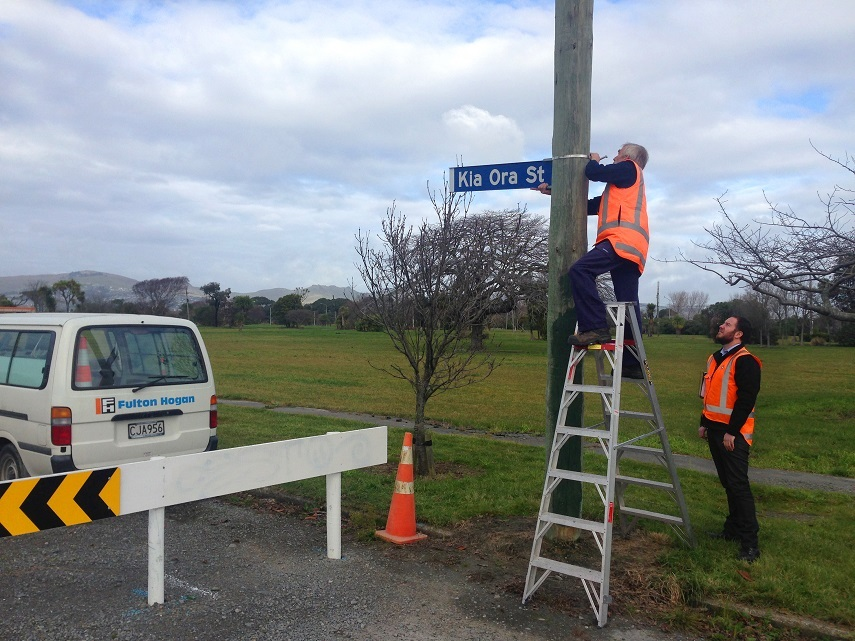 Two men installing a street sign on a post