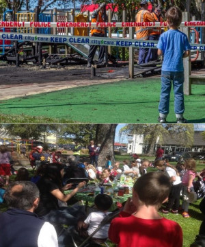 Top: a boy stands in front of a damaged playground. Bottom: a picnic to celebrate the new playgound.