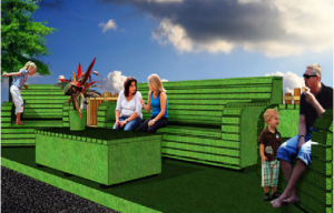 A render of a parklet featuring green false turf chairs
