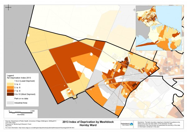 Meshblock Deprivation Map, 2013