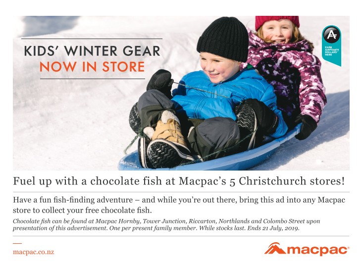 'Advertisement for Macpac kids' winter gear