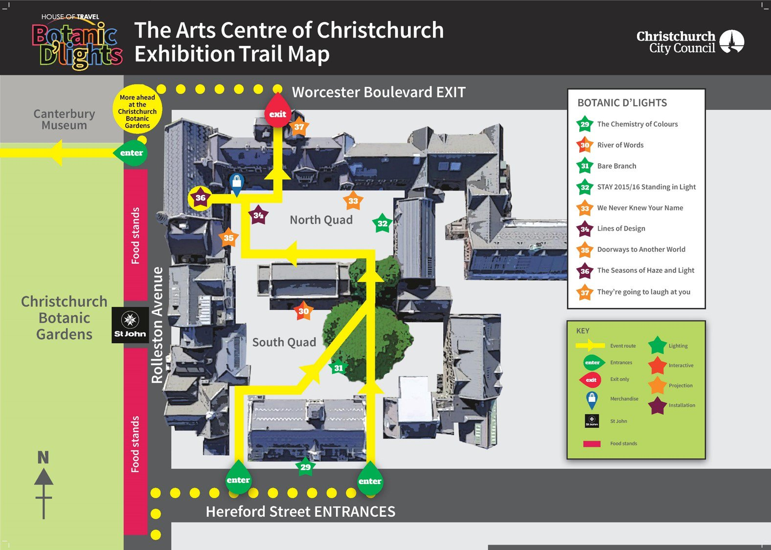 House of Travel Botanic D'Lights 2018 Arts Centre Trail Map