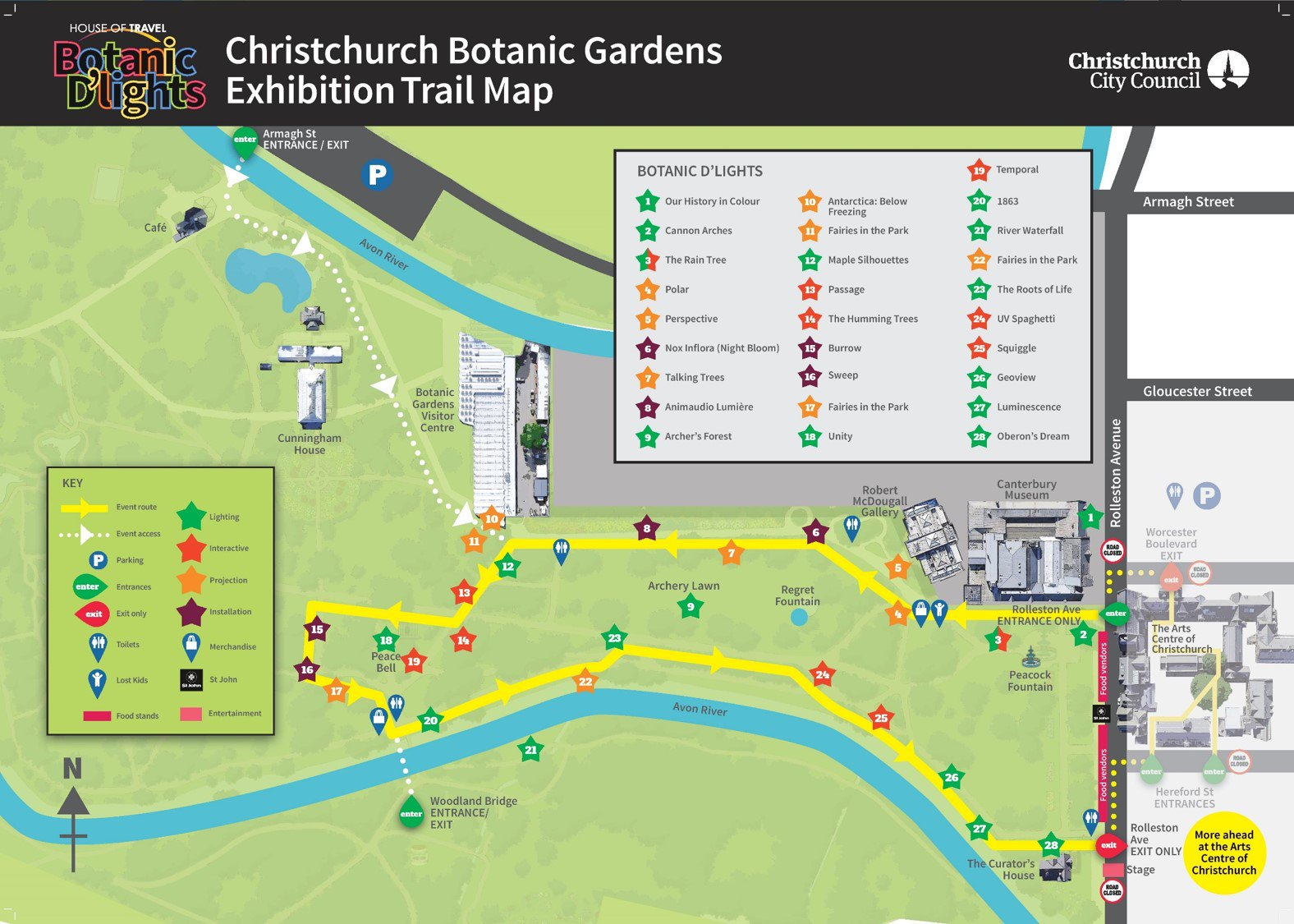 House of Travel Botanic D'Lights 2018 Gardens Trail Map