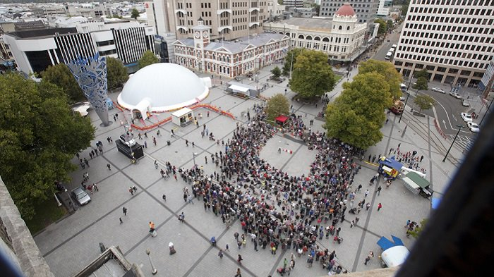 'Aerial view of Buskers Festival in Cathedral Square