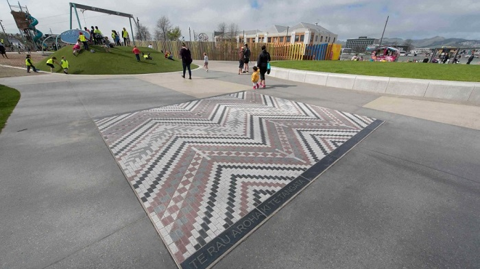 'Whāriki mat at Margaret Mahy Playground