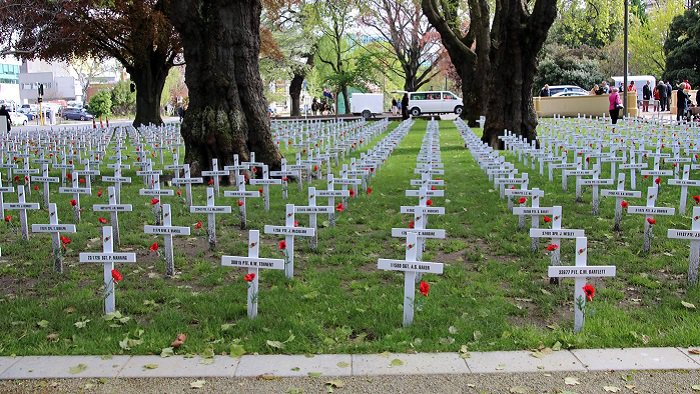 'Commemorative crosses at Remembrance Park