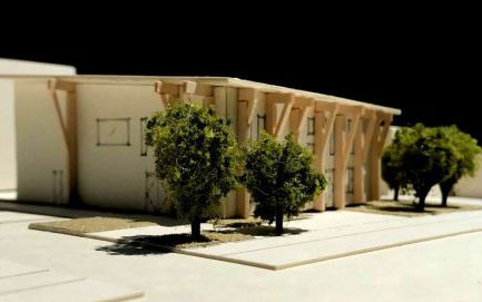 A model showing the early concept design for the new Riccarton Community Centre.