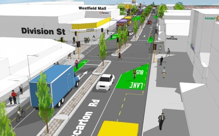 An artist's impression of the changes to Riccarton Road.