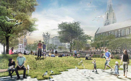 An artist's impression of Cathedral Gardens - one of the new public spaces planned for Cathedral Square.
