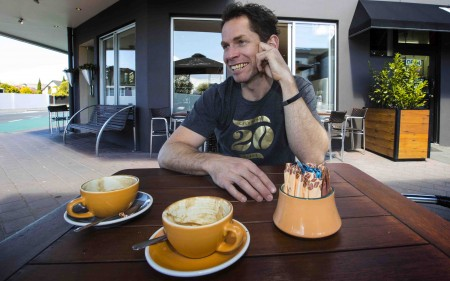 Coffee Culture Merivale owner Glenn Rewi enjoys a smoke-free outdoor space