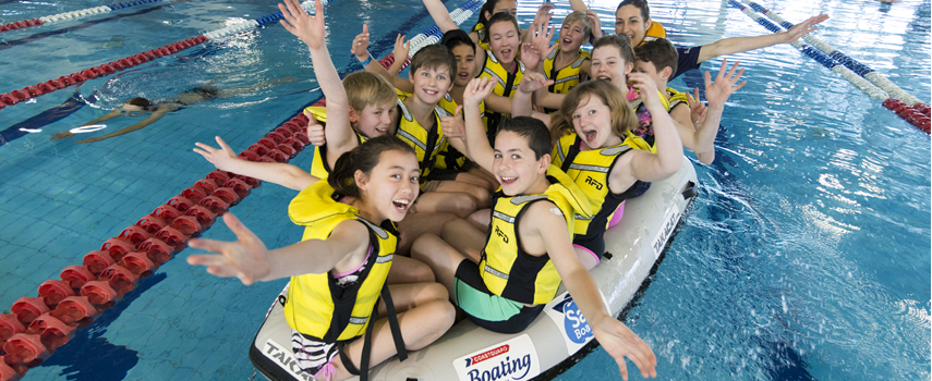 Kids learning to be swim safe