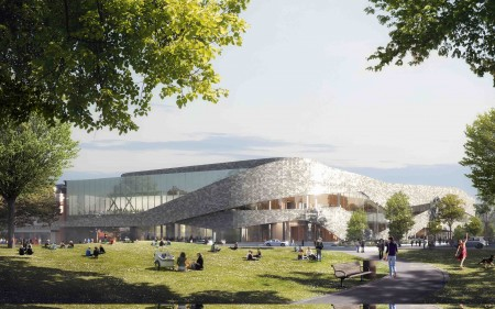 A preliminary design image of the Christchurch Convention Centre.