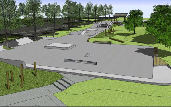 Revised design for the Knights Stream skate park.