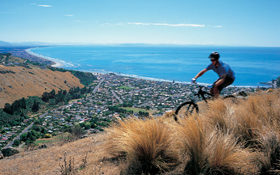 A cyclist on the hills above Sumner