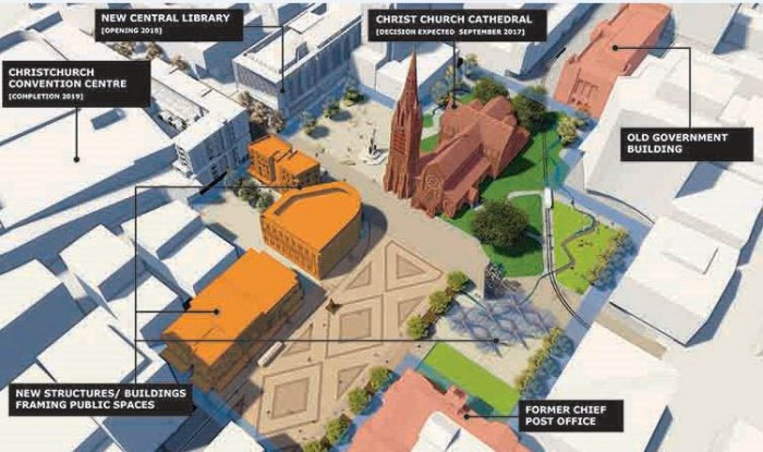 A map showing the proposed lay-out of Cathedral Sqaure.