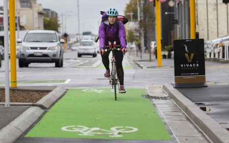 Cyclist in a cycle-lane in the Christchurch CBD.