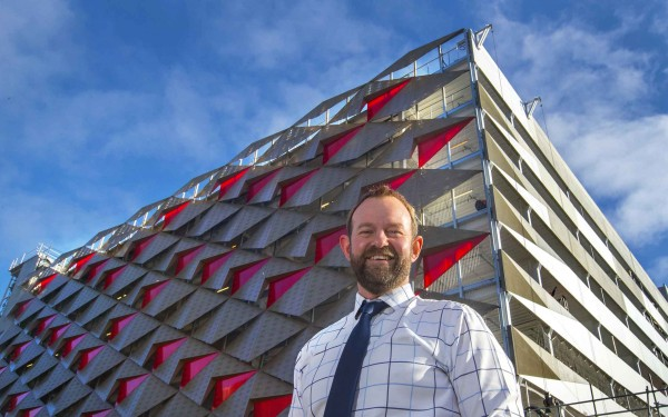 Christchurch City Council Transport Operations Manager Aaron Haymes outside the the new Lichfield Street Carparking building.