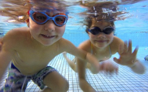 Swimsmart lessons have given Alex Riley (6) and his big sister Madison (9) confidence in the water.